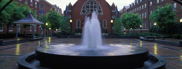 Fountain in front of Dahlgren Chapel